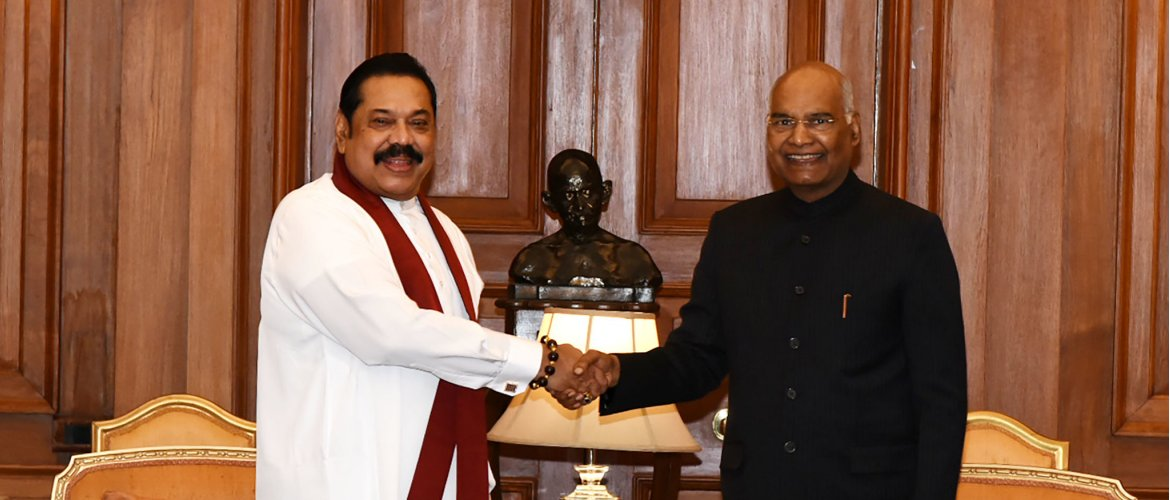 President of India H.E Ramnath Kovind meets with Honorable Prime Minister Mahinda Rajapaksa at Rashtrapati Bhawan.
